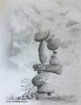 Drawing - Stacked Rocks Circle by Jim Hubbard
