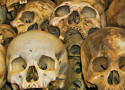 Photograph - Stacked Skulls by Ricky Barnard