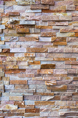 Photograph - Stacked Stone Rock Wall Background by David Gn