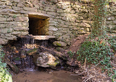 Photograph - Stacked Stone Wall With Waterfall by MM Anderson
