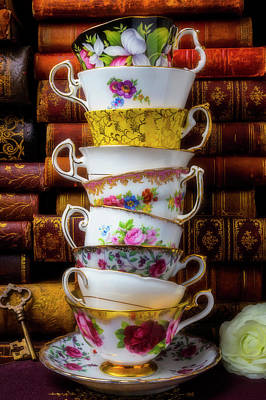 Photograph - Stacked Tea Cups by Garry Gay
