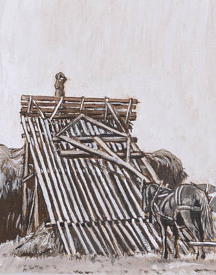 Painting - Stacking Hay With Beaver Slide by Dawn Senior-Trask