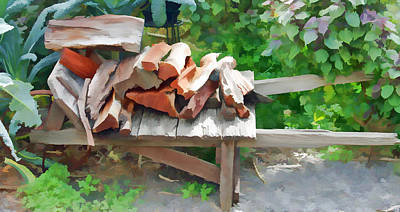 Mixed Media - Stacking The Firewood by Pamela Walton