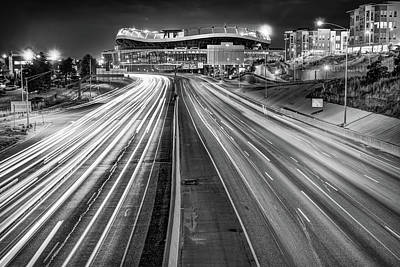 Photograph - Stadium At Mile High - Denver Colorado - Black And White by Gregory Ballos