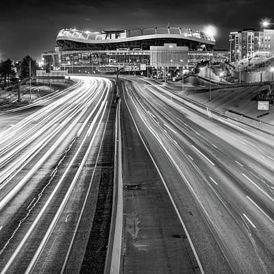 Photograph - Stadium At Mile High - Denver Colorado - Bw Square Format by Gregory Ballos
