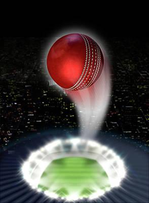 Cricket Digital Art - Stadium Night With Ball Swoosh by Allan Swart