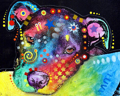 Terriers Mixed Media - Staffie Pup by Dean Russo