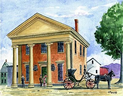 Painting - Stafford Savings Bank,stafford Springs, Ct. 1870's by Jeff Blazejovsky