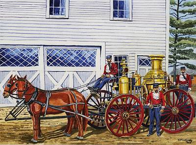 Painting - Stafford Springs Ct. Fire Dept. 1880's by Jeff Blazejovsky