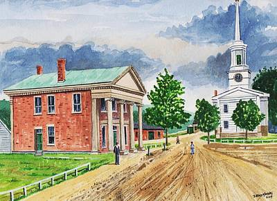 Painting - Stafford Springs Ct. Main St. 1870's by Jeff Blazejovsky