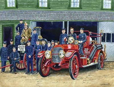 Painting - Stafford Springs Fire Dept 1920 by Jeff Blazejovsky
