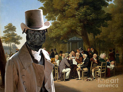 Painting - Staffordshire Bull Terrier Art - Politicians In The Tuileries Gardens by Sandra Sij