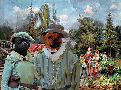 Painting - Staffordshire Bull Terrier Art - Venetian Court, Ministrel Scene by Sandra Sij