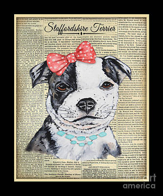 Staffordshire Terrier-jp3857 Art Print by Jean Plout