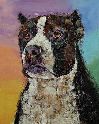Pitbull Painting - Staffordshire Terrier by Michael Creese