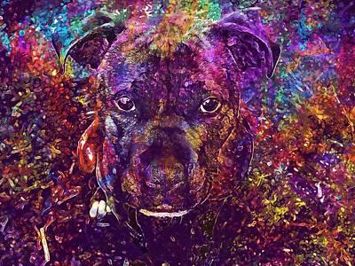 Brindle Digital Art - Staffy Dog Brindle Staffordshire  by PixBreak Art