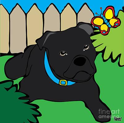 Staffordshire Bull Terrier Digital Art - Staffy by Ness Lau