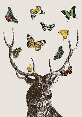 Vintage Digital Art - Stag And Butterflies by Eclectic at HeART