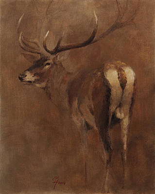 Painting - Stag by Attila Meszlenyi