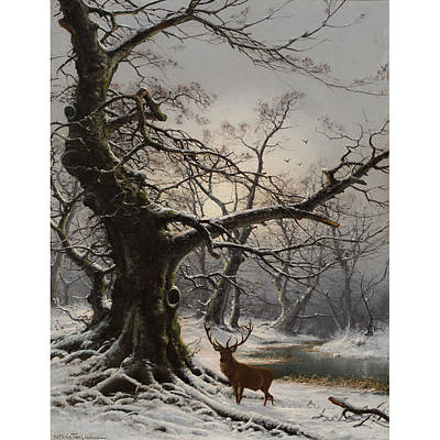 Stag In A Snow Covered Art Print by MotionAge Designs