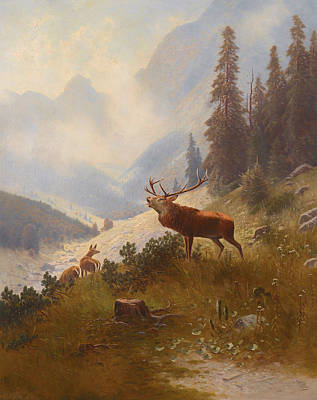 Wildlife Landscape Painting - Stag In The Mountains by Mountain Dreams