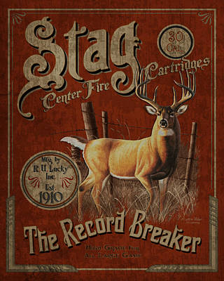 Whitetail Deer Wall Art - Painting - Stag Record Breaker Sign by JQ Licensing