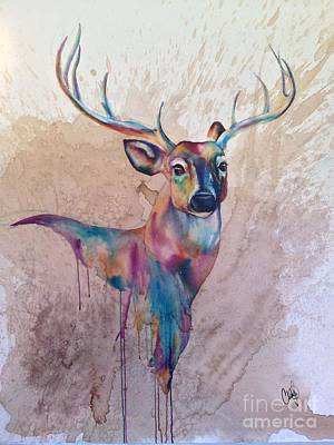 Art Print featuring the painting Stag Spirit by Christy  Freeman