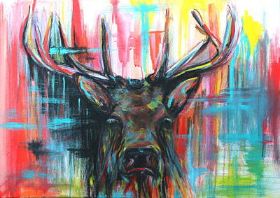 Mixed Media - Stag With Attitude by Lyndsey Hatchwell