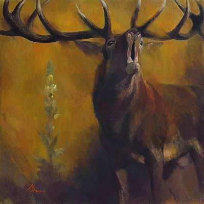 Painting - Stag With Mullein by Attila Meszlenyi