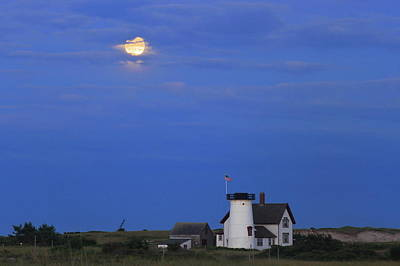 Photograph - Stage Harbor Lighthouse Cape Cod Moon And Clouds by John Burk