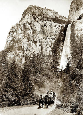 Photograph - Stagecoach And Bridalveil Falls Yosemite Valley Circa 1900 by California Views Mr Pat Hathaway Archives