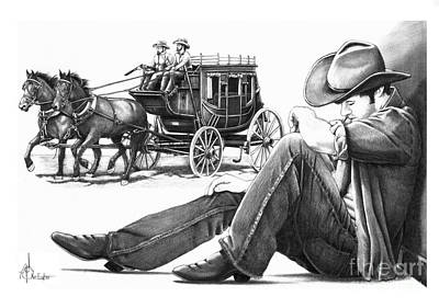 Stagecoach And Cowboy Art Print