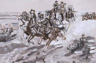 Painting - Stagecoach Attacked Historical Vignette by Dawn Senior-Trask