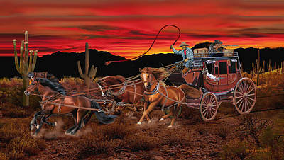Digital Art - Stagecoach Cowboys by Glenn Holbrook