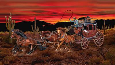 Digital Art - Stagecoach Cowboys by Glenn Holbrook