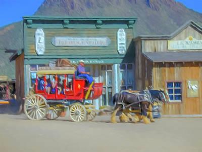 Digital Art - Stagecoach Digital Watercolor by Randy Herring