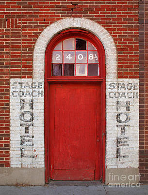 Photograph - Stagecoach Hotel - Rustic Antique Red Door Home Country Southwest by Jon Holiday