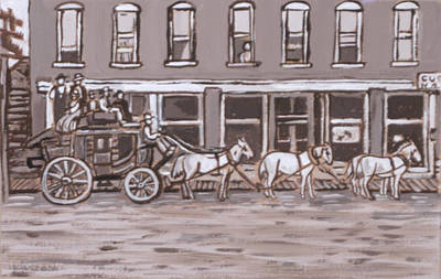 Painting - Stagecoach In Saratoga Historical Vignette by Dawn Senior-Trask