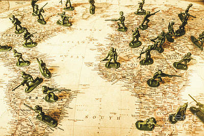 Old Map Photograph - Staged World War by Jorgo Photography - Wall Art Gallery