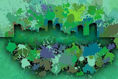 Crack Digital Art - Stain Boston Skyline by Alberto RuiZ
