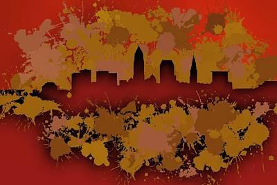 Crack Digital Art - Stain Cleveland Skyline .1 by Alberto RuiZ