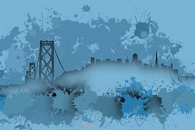 Cityscape Digital Art - Stain San Francisco Skyline. Blue 1 by Alberto Ruiz