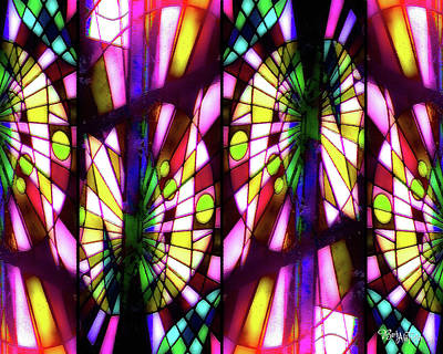 Digital Art - Stained Glass #4722 Abstract Design 1b by Barbara Tristan
