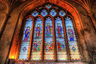Photograph - Stained Glass Abbey Window by David Pyatt