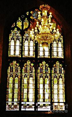 Photograph - Stained Glass And Chandelier   by Sarah Loft