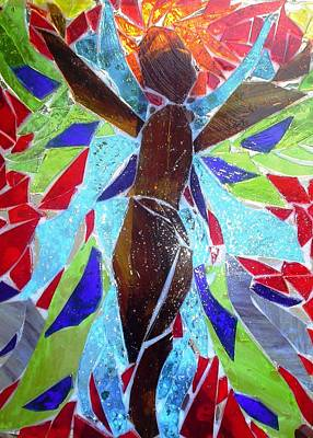 Glass Art - Stained Glass Angel by Laura  Grisham