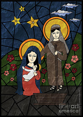 Stained Glass Artwork Of The Holy Family - Baby Jesus, Mother Mary And Saint Joseph Art Print by Antonina Chai