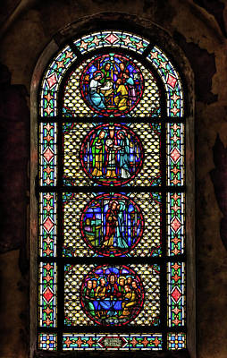 Photograph - Stained Glass At The Abandoned Monastery 1 by John Hoey