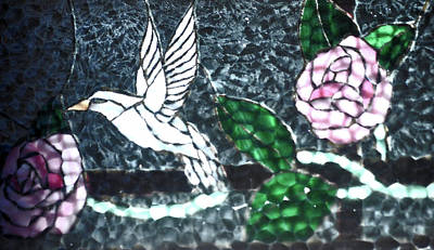 Photograph - Stained Glass Bird And Flowers by Jay Milo