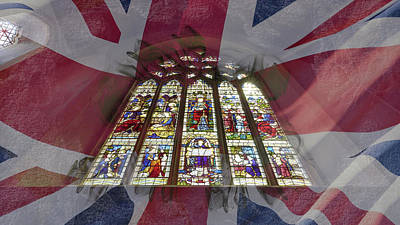 Photograph - Stained Glass Blended With Union Jack Flag by Jacek Wojnarowski